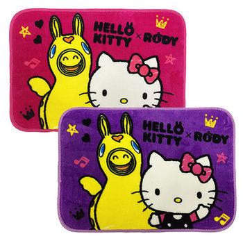 【享夢城堡】HELLO KITTY RODY Hello Friend 法蘭絨地墊2入(桃+紫)