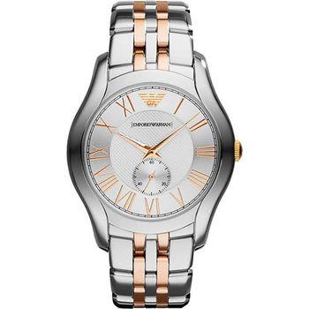 ARMANI Classic 義式時尚羅馬小秒針腕錶-銀x雙色版  AR1824