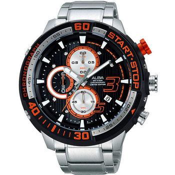 ALBA SignA 疾速奔馳計時限量腕錶-黑x銀 VD57-X048D