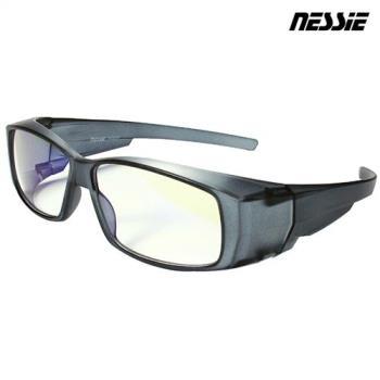 【Nessie尼斯抗藍光眼鏡】外掛全罩式-透明灰