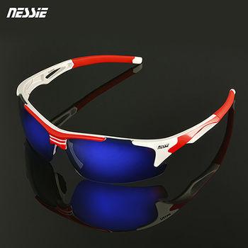 【Nessie尼斯偏光太陽眼鏡】包覆式運動款-白紅 (抗UV紫外線抗藍光 衝浪網球滑雪重機騎士 眼睛應做防曬)