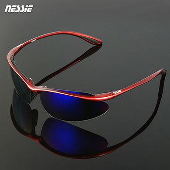 【Nessie尼斯偏光太陽眼鏡】包覆式運動款-鋁紅(抗UV紫外線抗藍光 衝浪網球滑雪重機騎士 眼睛應做防曬)