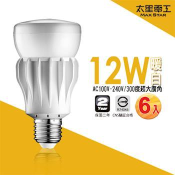 【太星電工】大廣角LED燈泡12W/暖白光(6入)  A512L*6.