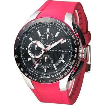 A│X Armani Exchange 重機型男計時運動錶-橡膠紅(AX1409)