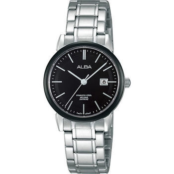 ALBA Lady 日系輕盈美學時尚腕錶-黑x銀/28mm VJ22-X177D(AH7E67X1)