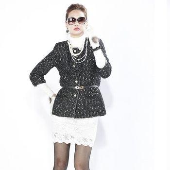 夏朵巴黎羊毛斜紋軟呢-外套