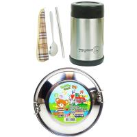 【kelifu可立夫】日式圓型14cm雙層便當盒x1+燜燒罐x1+環保餐具x1+贈保溫套x1(籃格隨機出貨)