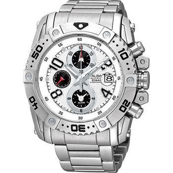 ALBA 天行者三環計時運動腕錶-白 YM62-X220S