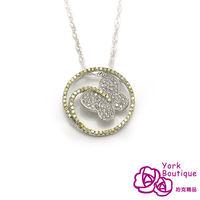 【約克精品】蝶翼擁星方晶鋯石包銠金項鍊
