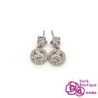 【約克精品】獨家設計施華洛晶鑽包18K玫瑰金針式垂吊耳環(SGS認證)