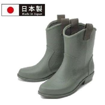 【Charming】日本製 時尚造型【個性馬靴式雨鞋】-軍綠色-800