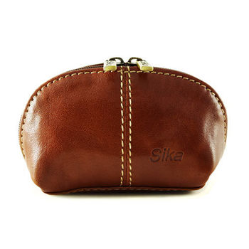 Sika義大利時尚真皮復古小巧拉鍊零錢包A8259-01原味褐