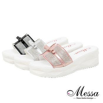 【Messa米莎專櫃女鞋】MIT 日韓連線耀眼鑽飾度假風厚底涼拖鞋-三色