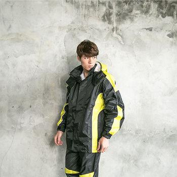奧德蒙戶外機能特仕-戰神Mars兩件式風雨衣-黑/芥末黃