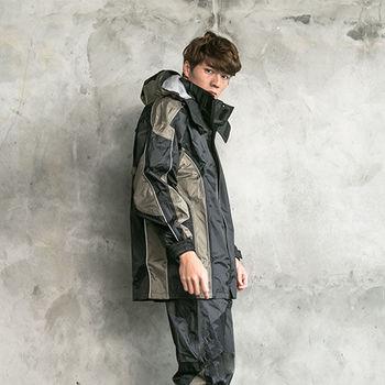 奧德蒙戶外機能特仕-戰神Mars兩件式風雨衣-黑/卡其