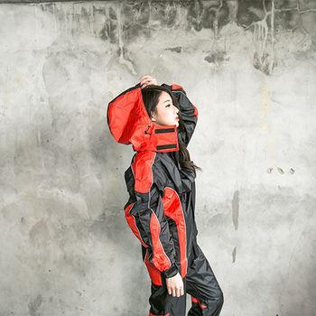 奧德蒙戶外機能特仕-戰神Mars兩件式風雨衣-黑/橘紅