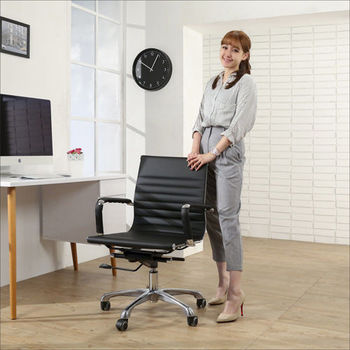 《BuyJM》鋁合金腳PU輪皮面面中背電腦椅/辦公椅