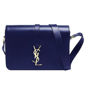 YSL UNIVERSITE系列品牌金屬LOGO小牛皮肩背/斜背包(深藍)