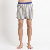 【Corpox】男式冰鎮棉持續涼感抗菌平口褲(黃藍條紋)