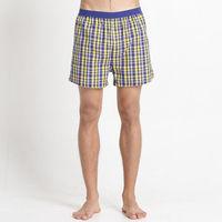 【Corpox】男式冰鎮棉持續涼感抗菌平口褲(黃藍格紋)