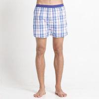 【Corpox】男式冰鎮棉持續涼感抗菌平口褲(藍紅格紋)