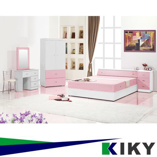 KIKY 粉紅波莉浪漫主義雙人六件床組(床頭+床底+床邊櫃+衣櫃+化妝台+椅子)