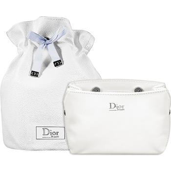 Dior 迪奧 壓紋磁扣Beaute化妝包(白)+星鑽束口圓桶袋