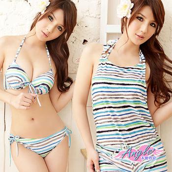 【天使霓裳】Summer甜心 三件式鋼圈比基尼泳裝 泳衣(淺藍) RG1249