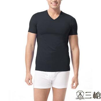 【三槍牌】5件組型男經典排汗速乾涼爽V領短袖衫(隨機取色)