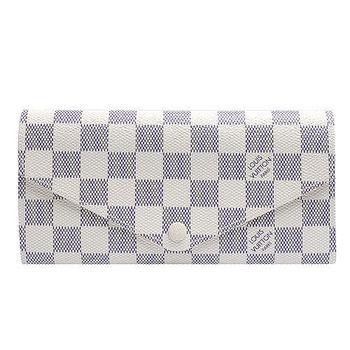 LV N63545 Damier Azur棋盤格Josephine釦式長夾(白-附收納零錢袋)