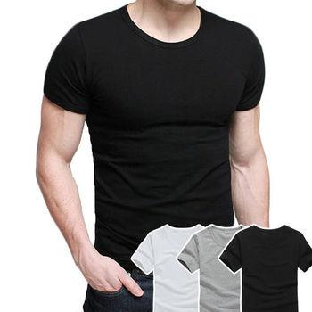 【ENNE】韓版男仕萊卡圓領短袖修飾棉T恤 上衣/三色任選(Q1089)