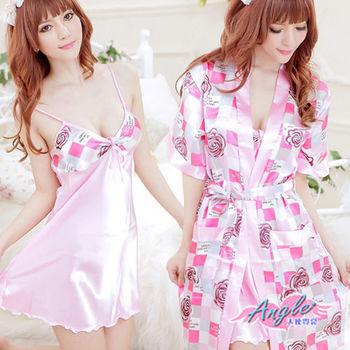 【天使霓裳】玫瑰物語 兩件式緞面睡衣組(桃F)UA2371