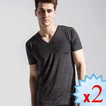 [MIGER]型男涼爽吸排好觸感V領短袖衫。可呼吸超細纖維2件組(尊爵黑) -台灣製