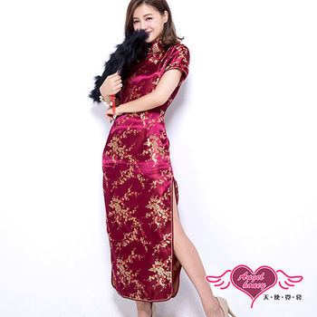 天使霓裳 夜戀上海 改良式長版旗袍(酒紅F)-YA11102