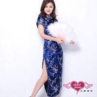 天使霓裳 夜戀上海 改良式長版旗袍(藍F)-YA11102