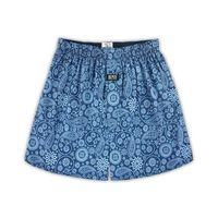【HENIS】舒適純棉型男五片式定織印花平口褲-6件組/隨機取色HS711