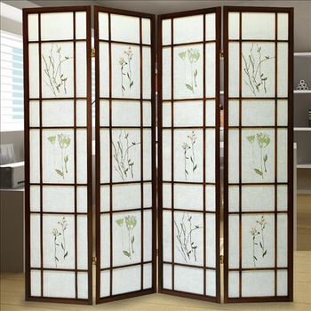【時尚屋】[2T5]和風實木單面三朵花屏風806