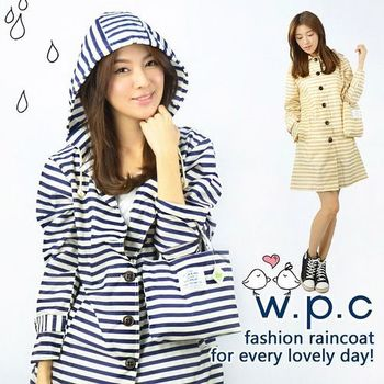 【w.p.c.】條紋釦子款。時尚雨衣/風衣(R1028)(兩色任選)