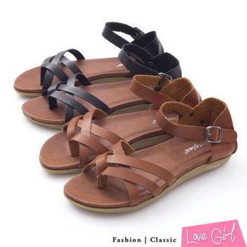 ☆Love Girl☆舒適感簡約雙交叉夾腳涼鞋