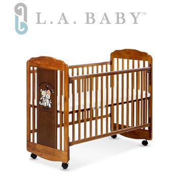 【美國 L.A. Baby】愛丁熊搖擺中小嬰兒床/原木床/童床(咖啡色/白色)