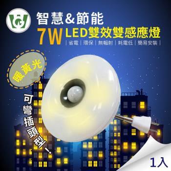 7W大照明LED 雙效雙感應燈(可彎插頭型)(暖黃光)