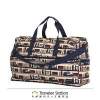 《Traveler Station》HAPI+TAS 摺疊圓形旅行袋(大)新款-220米色倫敦風情