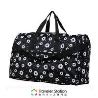 《Traveler Station》HAPI+TAS 摺疊圓形旅行袋(大)新款-184摩登花朵黑