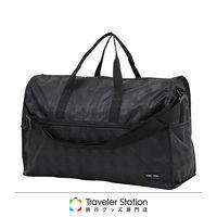 《Traveler Station》HAPI+TAS 摺疊圓形旅行袋(大)新款-128黑色格紋