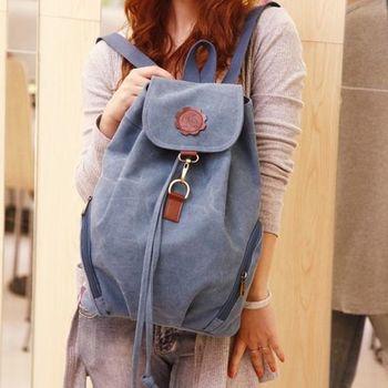 【Acorn*橡果】韓風弧形束口環扣帆布後背包6513(藍色)