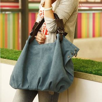 【Acorn*橡果】韓風獨特大方率性帆布側背包6512(藍色)