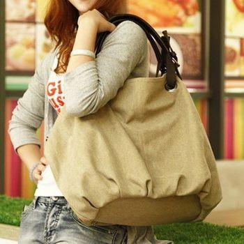 【Acorn*橡果】韓風獨特大方率性帆布側背包6512(米色)