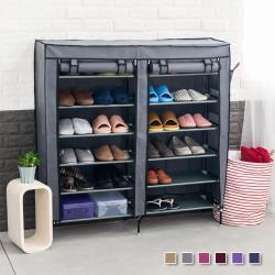 超大雙排加寬12格 簡易DIY防塵鞋櫃 (棗紅/咖啡/銀灰/粉紅/紫色/深藍)