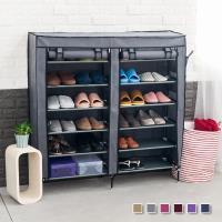 超大雙排加寬12格簡易DIY防塵鞋櫃 組合鞋櫃 鞋架 6色可選