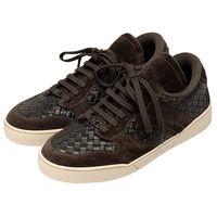 BOTTEGA VENETA 經典編織小羊皮X麂皮休閒鞋(深咖啡)